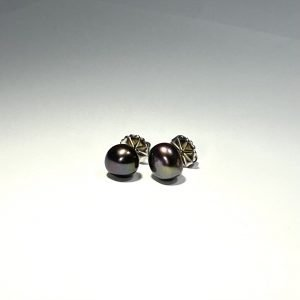 Black Cultured Pearl Earrings
