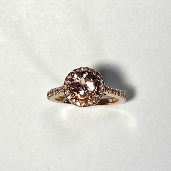 Morganite and Diamond Ring top