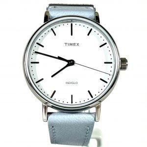 Women's Timex Fairfield Classic Sky Blue Leather Strap Watch