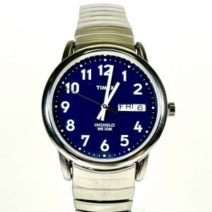 Men's Timex Easy Reader Expansion Watch with Blue Dial and Silver-Tone Bracelet