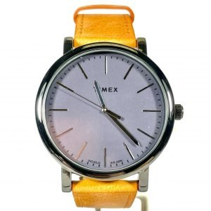 Timex 41mm Leather Strap Watch with Black Bezel